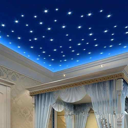 Hot 100Pcs 3D Stars Glow In The Dark Ceiling Wall Stickers Cute Living Home Decor Fashion