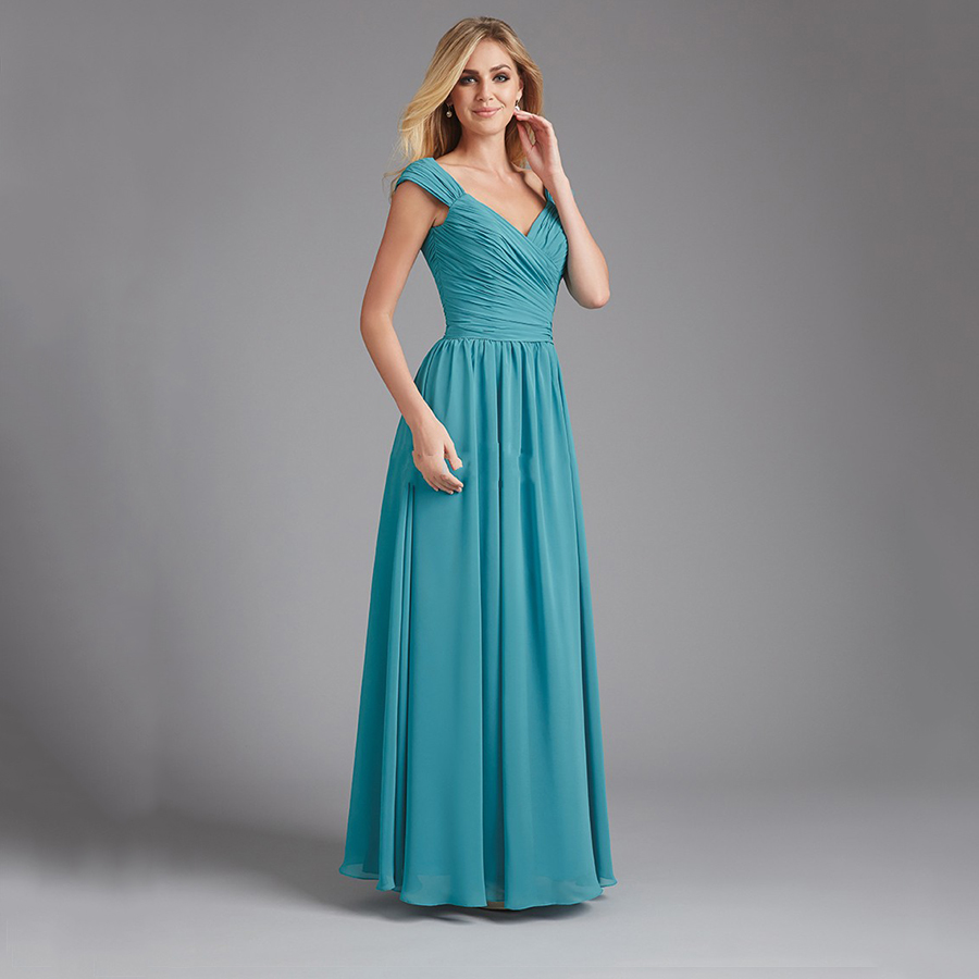 Online get cheap long sleeved teal bridesmaid dresses aliexpress wedding guest imported party gowns v neck chiffon long modest teal blue bridesmaid dress with cap ombrellifo Choice Image
