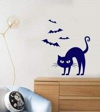 Dessin animé animal gothique chat chauve souris halloween vinyle autocollant mural fête de noël vacances maison chambre enfants chambre decorationWSJ17