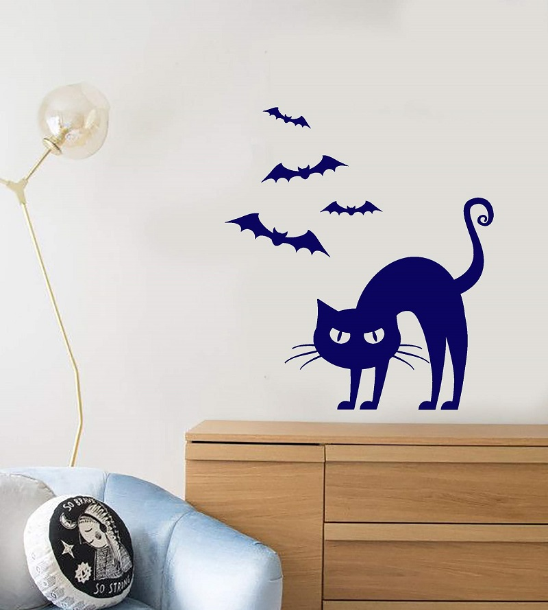 Vinyl Wall Decal Cartoon Pet Gothic Cat Bats Halloween Stickers christmas party decoration home living room decoration WSJ17-in Wall Stickers from Home & Garden