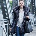Winter Jacket Women Slim With Fur Collar 2016 Natural Fox Fur Collar Thick Warm Duck Down Coat Hood Parka Overcoat 1324