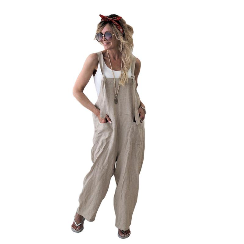 2018 New Women Retro Old Style Loose Linen Pants Cotton Jumpsuit Strap Harem Trousers Overalls Loose Harem Pants Trousers
