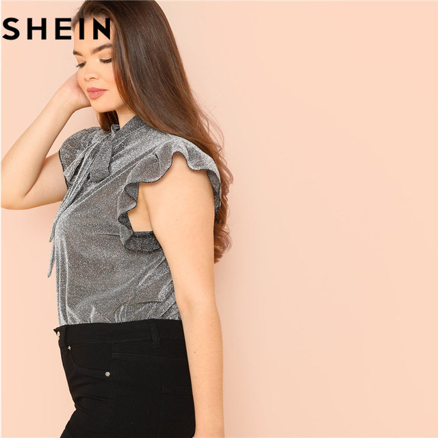 SHEIN Grey Ruffle Trim Tie Neck Plus Size Women Thin Blouses Summer Polyester Sleeveless Elegant Office Lady Solid Top Blouse 2