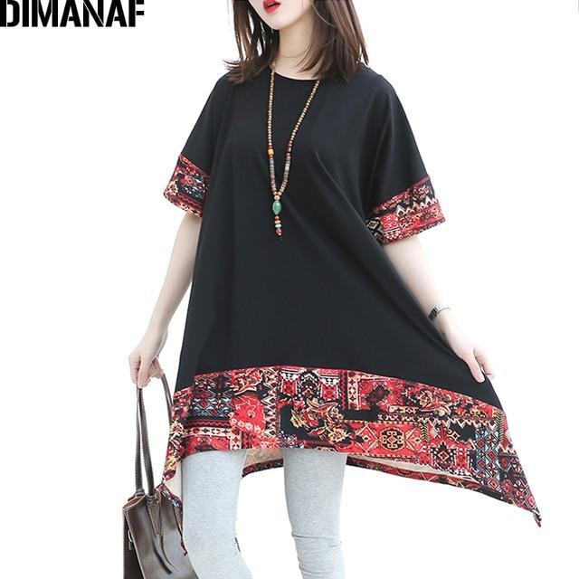 00f6edf9f13 DIMANAF Summer Women Plus Size Style T-Shirt Cotton Irregular Female  Tops Tees Casual Print Pattern