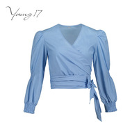 Young17 Fall Blouse Women Shirt Blue Patchwork Long Sleeve Pullover V Neck Beauty Sexy Elegant Wrap