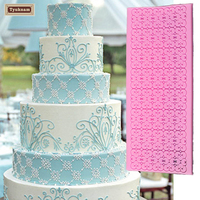 Cake Lace Flower Mold Silicone Embossing Cake Mat Textured Lace Silicone Cake Pad Mould Sugarcraft Fondant