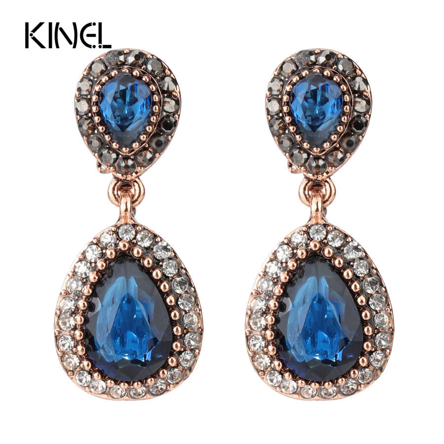 Kinel Hot Blue Drop Earrings For Women Gold Color Vintage Jewelry Mosaic Water Drop Resin Crystal Earrings Engagement Party Gift