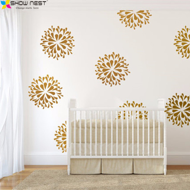 Gold Flowers Wall Decals Vinyl Sticker   Kids Bedroom Wall Art Decor   Kids  Wall Sticker