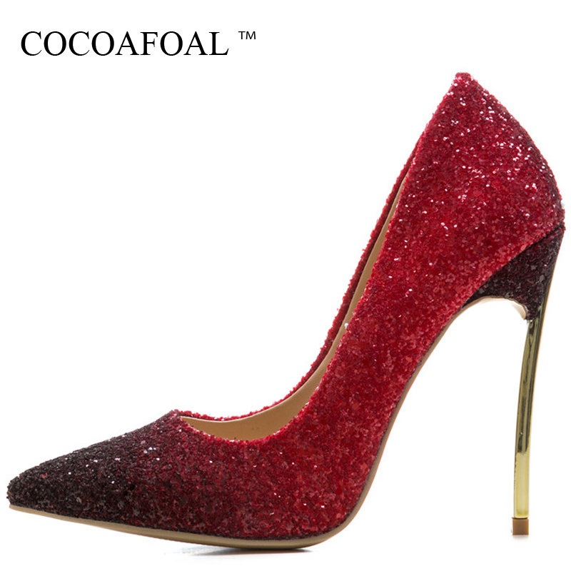 COCOAFOAL Woman Purple High Heels Shoes Plus Size 33 43 44 Stiletto Valentine Shoes Bling Blue Pointed Toe Silver Wedding Pumps