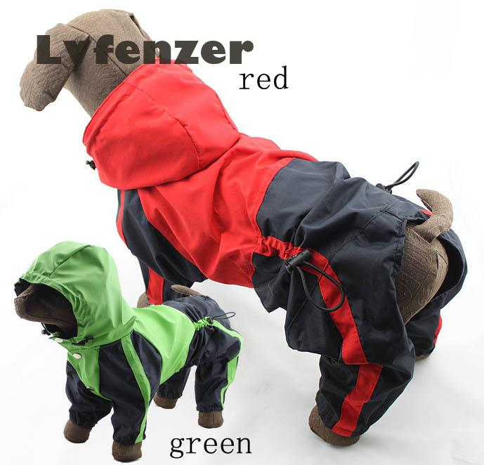 Pet Products Waterproof PU green red Dog Supplies Raincoats clothes Raincoat