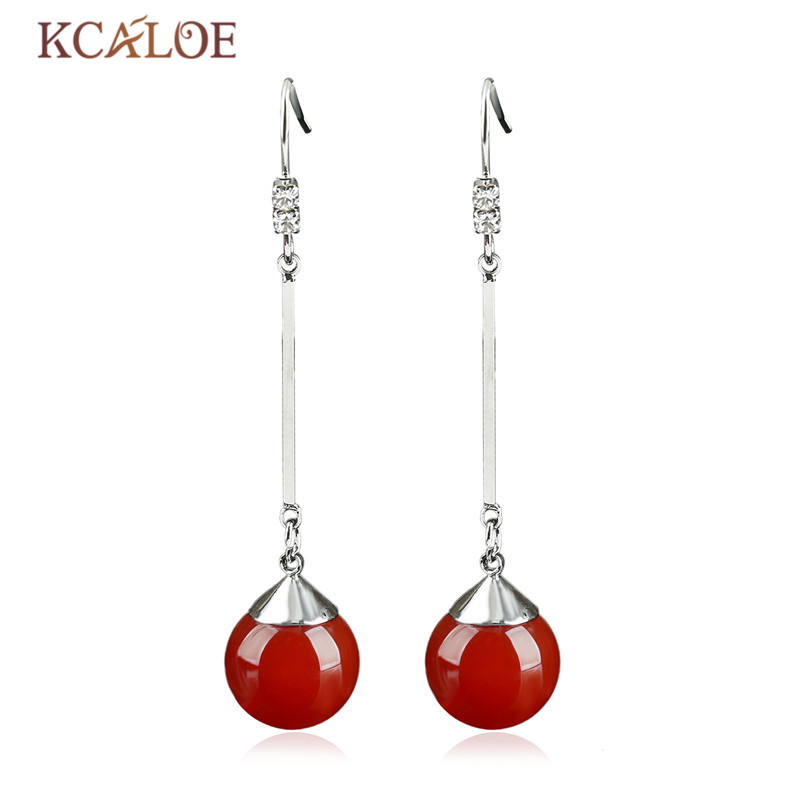 KCALOE Long Earrings For Women Silver Color Natural Red Onyx Stone Round Ball Fashion Dangle Earrings Pendientes Largos