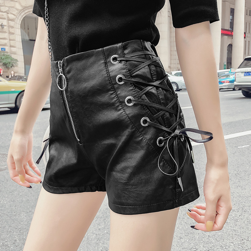 Sexy Women   Shorts   Feminino Autumn Black Bandage Lace Up High Waist Slim Leather   Shorts   Sweet Casual Pu   Short   Mujer Ladies   Shorts
