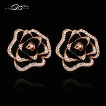 Negro Flores Color de Rosa Cubic Zirconia Crystal Stud Pendientes de Oro Rosa Plateado Moda Joyería de La Vendimia Para Las Mujeres brincos joias DFE729
