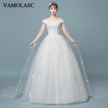 VAMOLASC Boat Neck Lace Flowers Appliques Ball Gown Wedding Dresses Off The Shoulder Pearls Backless Bridal Gowns