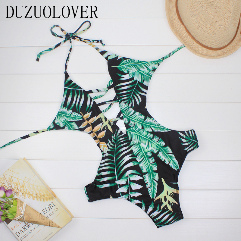 DUZUOLOVER One Piece Swimsuit Sexy Cut out Swimwear Women Bodysuit Bathing Suit Vintage Beach Wear Leaf  Print Bandage Monokini 2017 sexy one piece swimsuit women swimwear halter monokini vintage bodysuit high cut beach wear retro bathing suits swimsuit