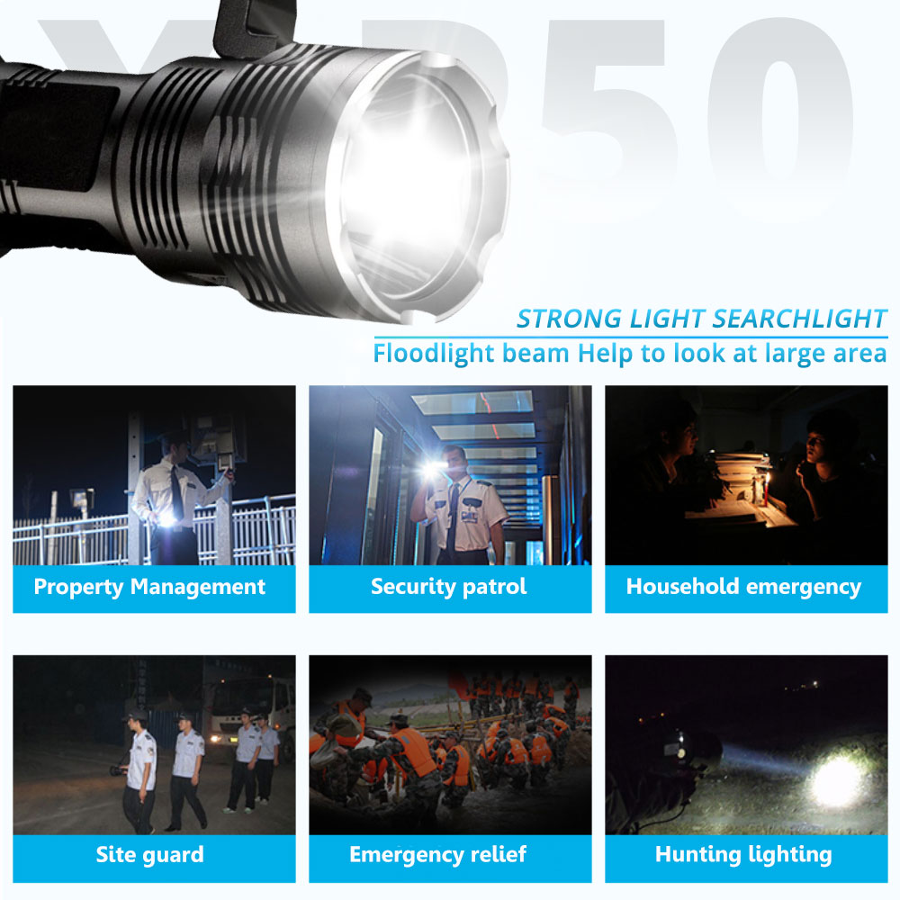 Купить с кэшбэком Super Bright LED Flashlight XHP50 USB Rechargeable Powerful Portabl Light LED Searchlight Flash Light Lamp By 4*18650 Battery