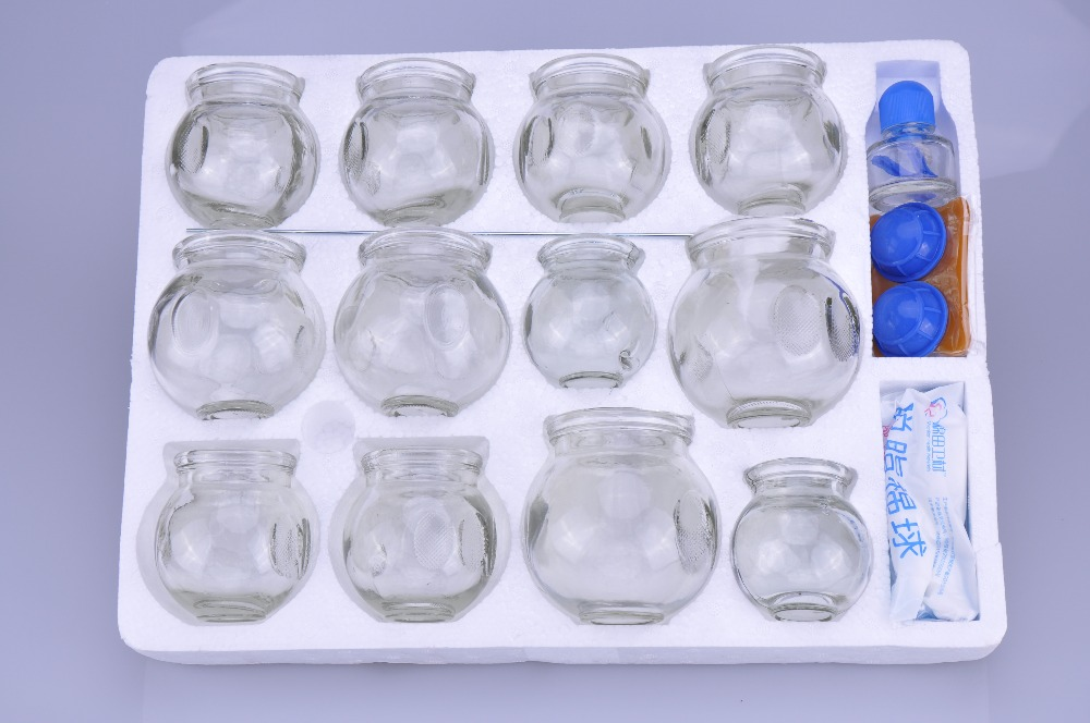 12Pcs/Set Glass Vacuum Cupping Set Massage Cup Glass Material Cupping Body Cup Therapy Cup Set-in Massage & Relaxation from Beauty & Health    1