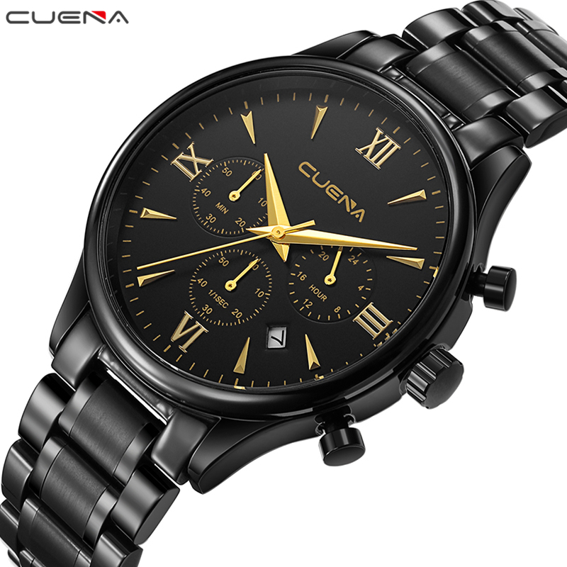 CUENA Fashion Mens Watches Top Brand Luxury Stainless Steel Waterproof Quartz Wristwatches Relojes Relogio Masculino Male Clocks mce top brand mens watches automatic men watch luxury stainless steel wristwatches male clock montre with box 335