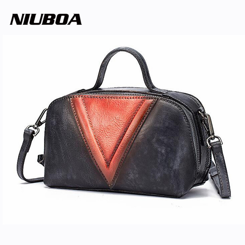 NIUBOA Genuine Leather Women Handbags Oil Wax Fashion Embossed Crossbody Bags Female Original Shell Messenger Bag Vintage Tote niuboa bag female women s 100