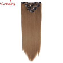 цена на 2set 7pcs/set Xi.rocks Synthetic Clip in Hair Extensions 55cm Straight Hairpiece Clips on the Hair Extension 130g Khaki 6A