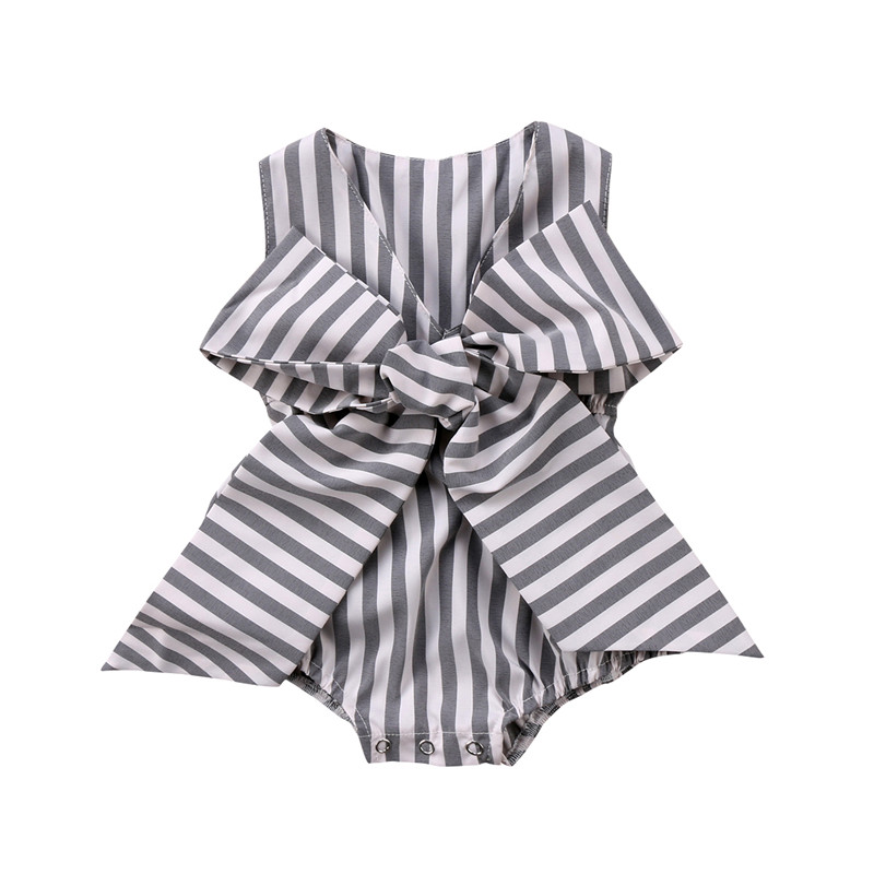 Fashion Baby Girls Romper Summer Newborn Baby Girl Bowknot Sleeveless Romper Striped V-neck Jumpsuit 2018 Baby Clothing Outfits 2017 denim romper newborn baby boy girl summer sleeveless pocket clothes toddler kids jumpsuit sunsuit children clothing outfits
