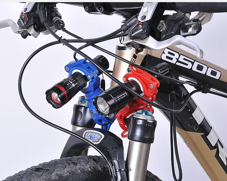 Bicycle Head Front  Lights Led Waterproof Zoom Flashlight Torch With 360° Holder