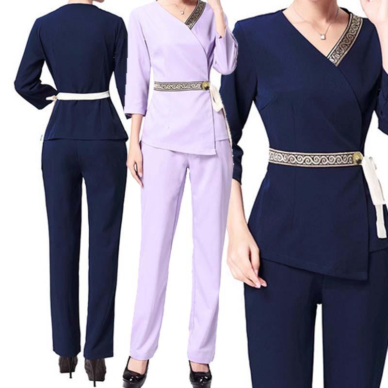 [SET] Women's Trendy Waistband Scrubs Set/Medical Uniforms/ Beauty Parlor/Spa Club Tunics/High Quality