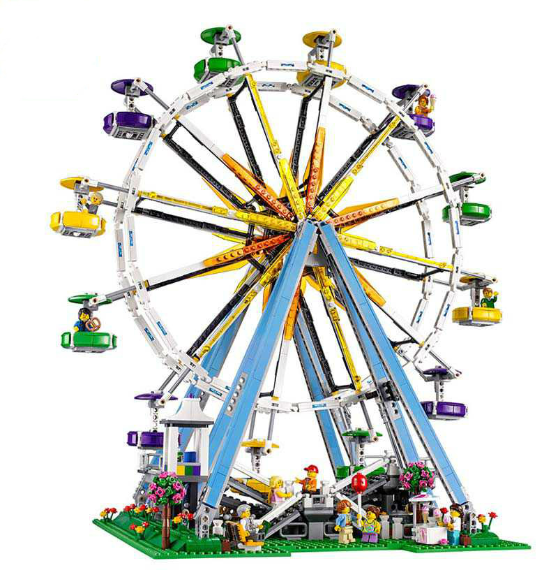 2518pcs New DIY 3D MODEL City Street Ferris Wheel Building Kits Blocks Figures Toy Compatible with Lepines Children Gifts dhl lepin 15012 2518 pcs city expert ferris wheel model building kits blocks bricks toys compatible with legoingly 10247