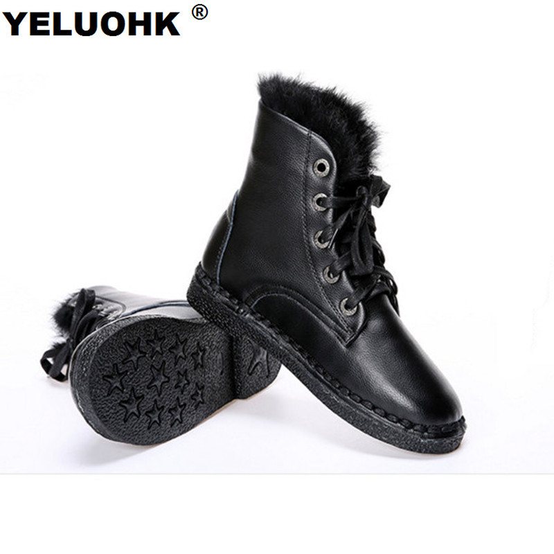 New Snow Boots Female Winter Shoes Warm High Boots Winter Women Leather Plush Ankle Boots For Women With Fur Waterproof new winter children snow boots boys girls boots warm plush lining kids winter shoes