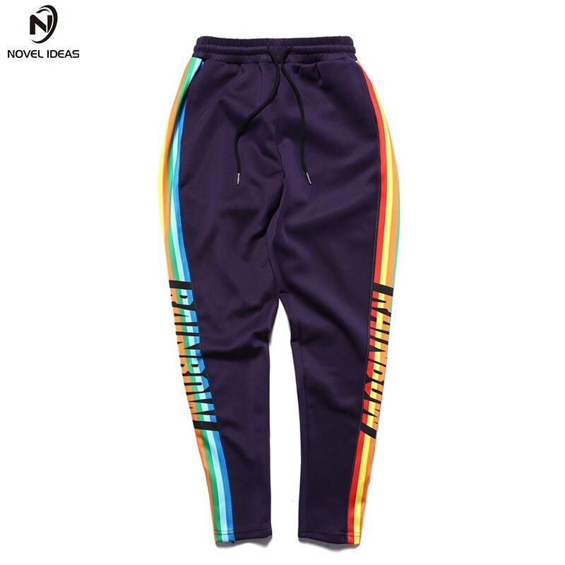 Colorful Side Patchwork Hip Hop Pants Men 2018 New Fashion Elastic Drawstring Men's Pants Black Purple