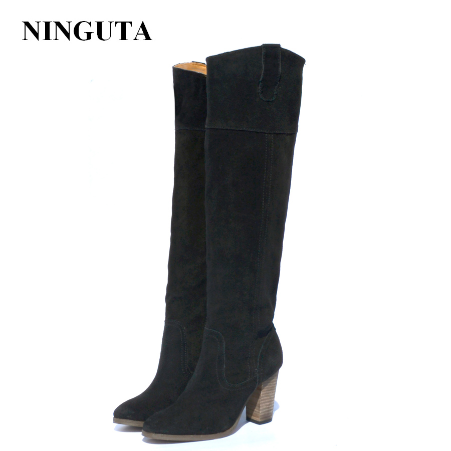 цена NINGUTA natural suede boots women high heel autumn shoes woman онлайн в 2017 году