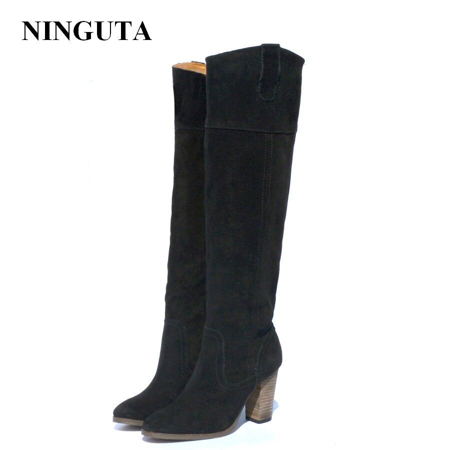 NINGUTA naturel daim bottes femmes à talons hauts chaussures automne femme
