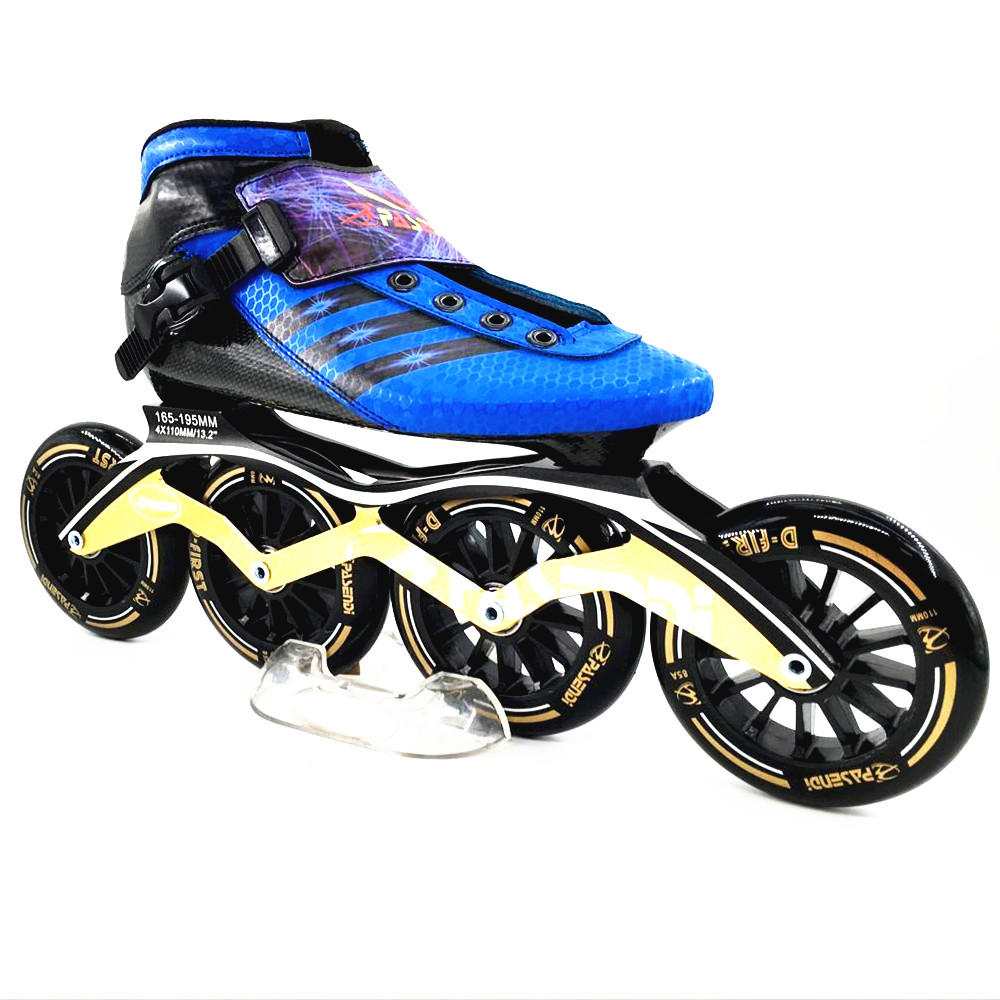 pasendi Patins blue inline speed skating shoes Professional child inline roller skates Carbon Adults Inline Speed Skate
