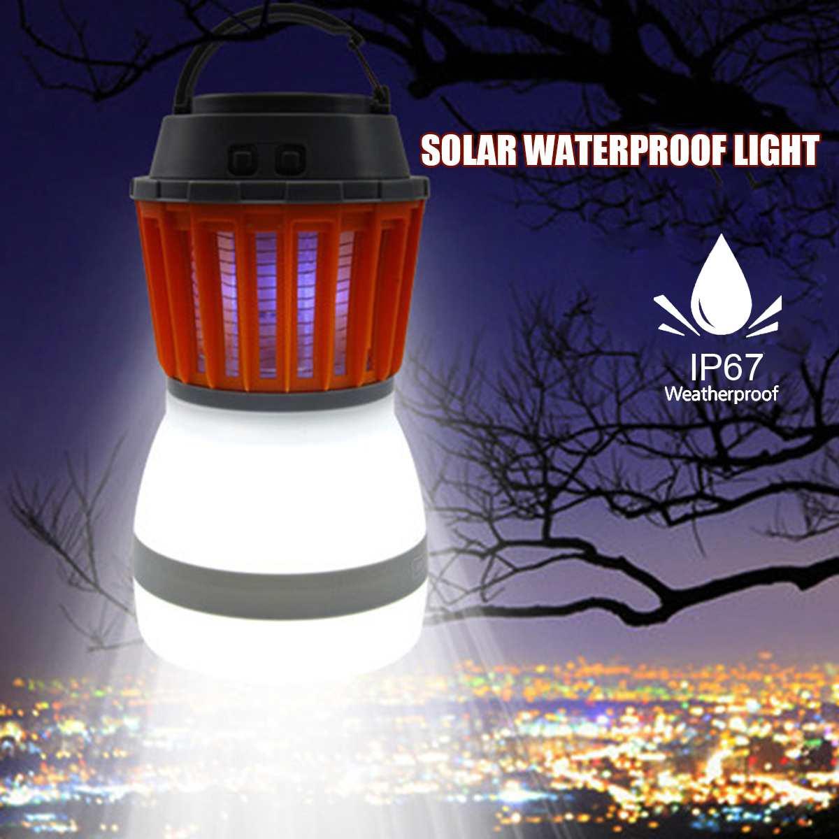 Panneau solaire LED Portable électrique tueur de moustiques étanche en plein air USB lumière Camping jardin Anti ravageur lampe insecte lanterne