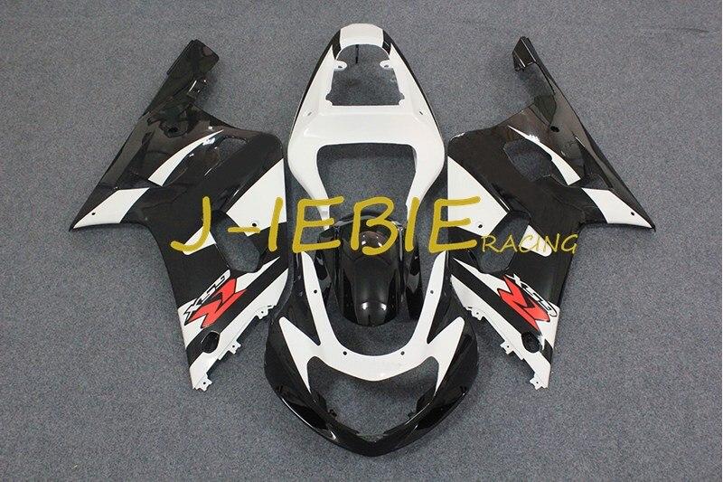 Black white Injection Fairing Body Work Frame Kit for SUZUKI GSXR 600/750 GSXR600 GSXR750 2001 2002 2003