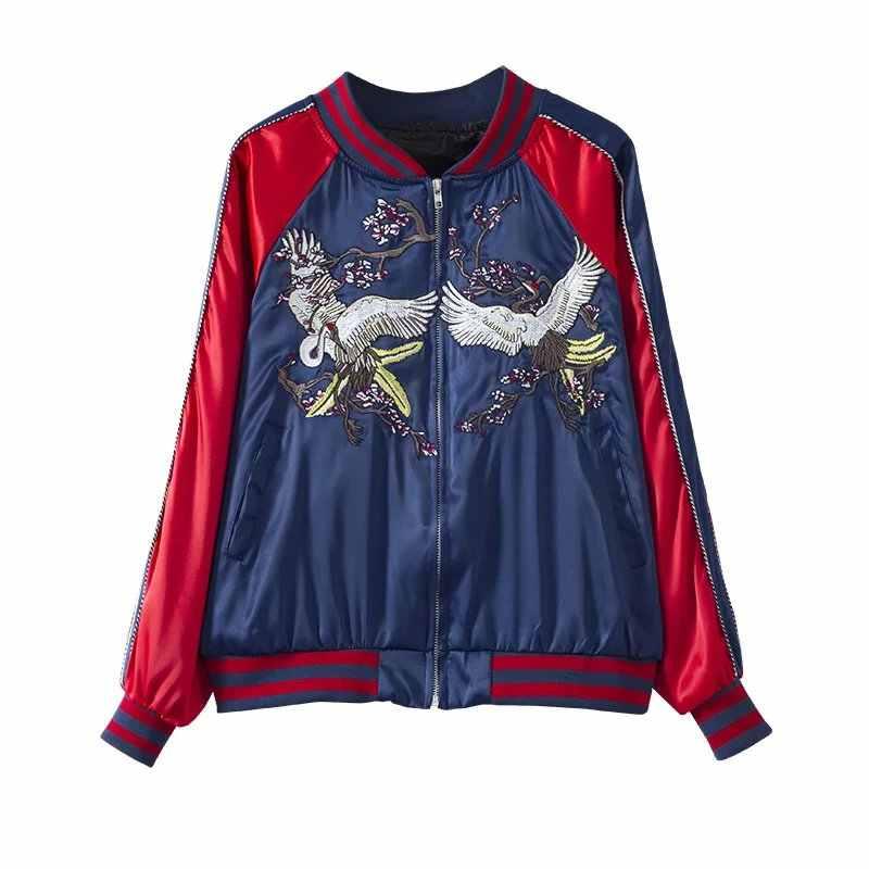 Mujeres Harajuku bordado grúa bombardero chaqueta rojo azul satinado aspecto Duster Souvenir Sukajan chaqueta abrigo mujer Outwears