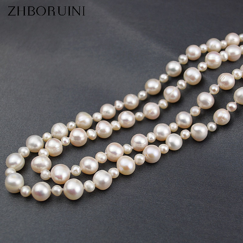 ZHBORUINI 2017 Fashion Long Multilayer Pearl Necklace Freshwater Pearl Off Round Pearls Women Necklace Jewelry For Women Gift zhboruini fashion long multilayer pearl necklace freshwater pearl tassels women accessories statement necklace jewelry for women