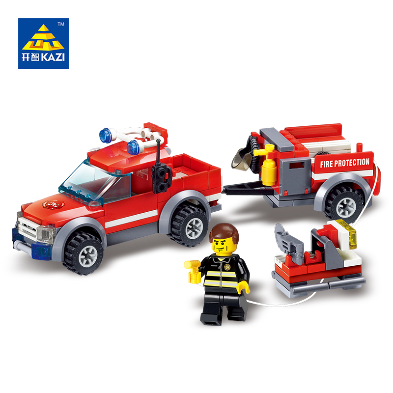 8055 KAZI City Fire Rescue Firefighting Cew Model Building Blocks Classic Enlighten Figure Toys For Children Compatible Legoe 6725 kazi city series police station model building blocks classic enlighten diy figure toys for children compatible legoe