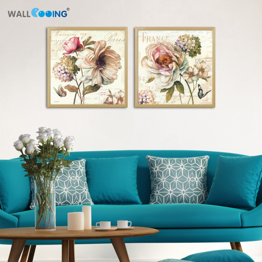 2 panel yellow European classical flowers Home Decoration Girl party gift canvas painting art Modular wall paintings for living