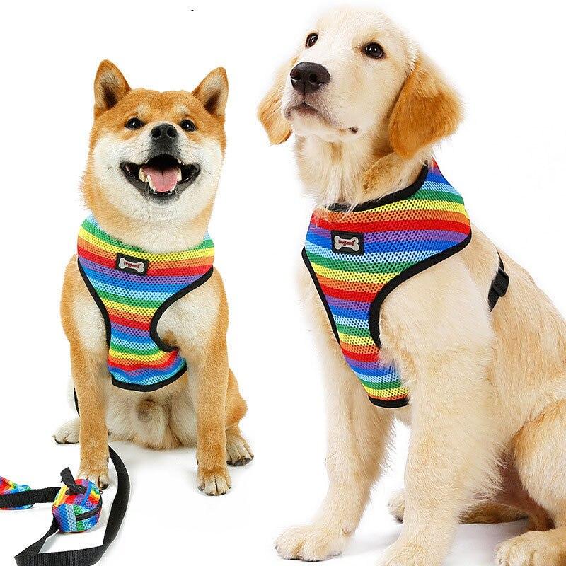 Image 5 - Dog Harness Leash Set with Poop Bag Soft Breathable Rainbow Mesh French Bulldog Vest Adjustable Jogging Pet Leash Harness SPHarnesses   -