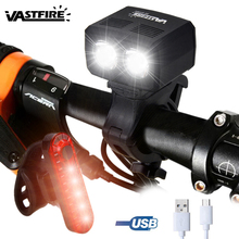 Waterproof USB Rechargeable Light 2X XM L T6 LED Bike Headlights 5 Modes Cycling Lamp Built