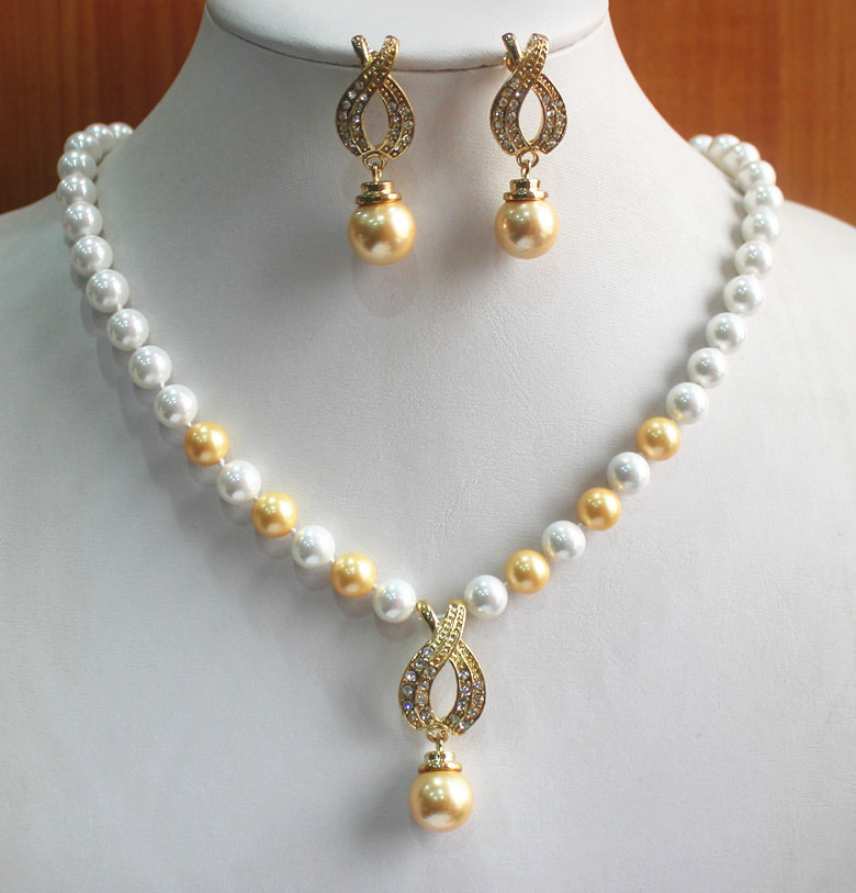 wedding and engagement jewelry set 8mm white and yellow pearl necklace match 14mm yellow pearl earrings jewelry set (A0513)
