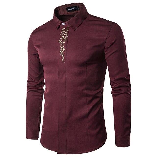 Bordados de oro Impreso Marca Hombres de la Camisa de Manga Larga Gira el Collar Abajo Camisas Gentleman Tuxedo Camisas Chemise Homme 2017 Sólido