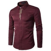 Gold Stickerei Printed Marken-hemd Männer Langarm Umlegekragen Gentleman  Tuxedo Shirts Chemise Homme 2017 Solide Camisas 4958f42675