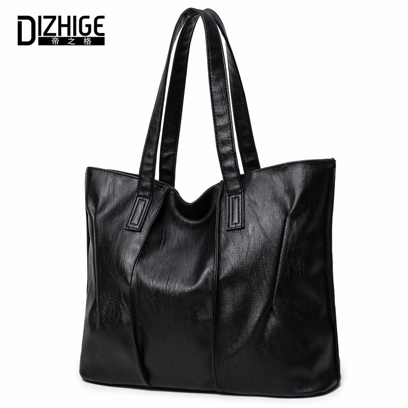 DIZHIGE Brand PU Leather Bags Handbags Women Famous Big Capacity Shoulder Bags Simple Ladies Hand Bags New Black Women Bag 2017 2 in 1 20000lm 16 x xm l t6 led rechargeable bicycle light bike headlight headlamp head lamp 18650 battery pack charger