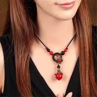 Retro folk brief paragraph pendant necklace Imitation stone red summer best female clavicle chain collocation ornaments