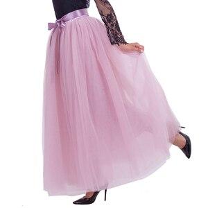 Image 2 - Saias de tule longas femininas, 7 camadas, 100cm, comprimento do chão, saia plissada, moda de casamento, dama de honra saias