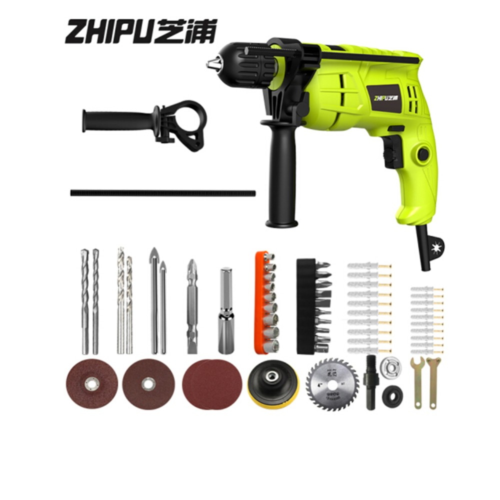 ZHIPU 220V Impact Drill Multi-function Household AC Electric Hammer Drill Professional Section Impact Drill Electric Power Tools набор пилок stomer ss 5 1 100 75мм 5шт дерево металл