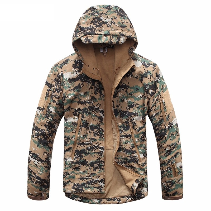 New Digital Camouflage Tactical Gear Military Army Jacket Men Softshell Waterproof Hunting Clothes Winter Sport Outdoor