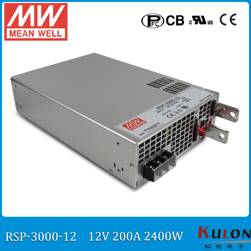 Original MEAN WELL RSP-3000-12 3000W 200A 12V ac/dc meanwell Power Supply with PFC function current sharing (Parallel operation) original mean well rsp 2400 12 2000w 160a 12v voltage trimmable meanwell power supply 12v 2000w with pfc in parallel connection